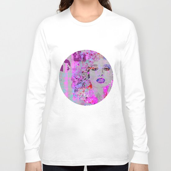 Flower Girl mixed media art grey pink Long Sleeve T-shirt