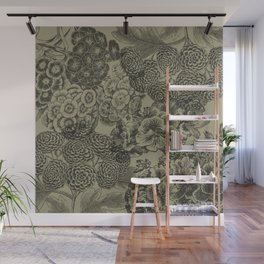 Antiqued Floral Wall Mural