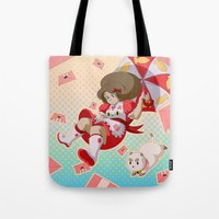 puppycat Tote Bags featuring Bee and Puppycat by Artist Meli