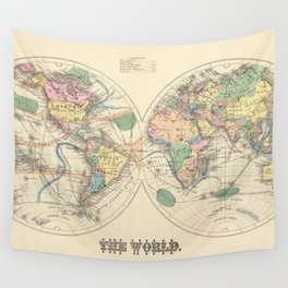 Vintage Map of The World (1872) Wall Tapestry