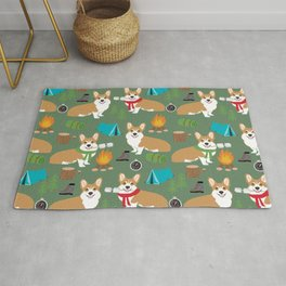 Corgi camping cute welsh corgis campfire outdoors scouts corgis must haves Rug