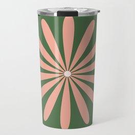 Big Daisy Retro Minimalism in Blush and Green Travel Mug