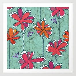 Batik Flower and bees Aqua Art Print