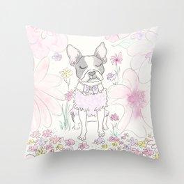 Beautiful Boston Terrier and Flower Wonderland Throw Pillow
