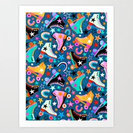 Retro Rainbow Roller Skates and Stars Art Print