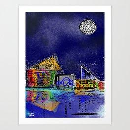 Baltimore Bright Colored Aquarium Art Print