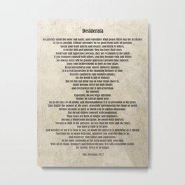 Desiderata Poem By Max Ehrmann Nr. 1001-2 Metal Print