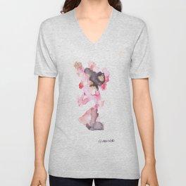 Watercolor Pink Black Flow | [dec-connect] 3. pretense Unisex V-Neck