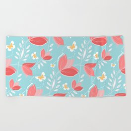 Romantic Chic Coral Retro Floral Pattern Turquoise  Beach Towel