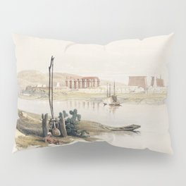 Pyramids of Gezeeh (Giza) from the Nile  by David Roberts (1796-1864) Pillow Sham