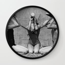 What the girls drink when the guys aren't looking - three girlfriends drinking at the beach black and white photograph Wall Clock