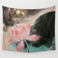 lotus Wall Tapestries featuring Lotus by Priscilla Moore