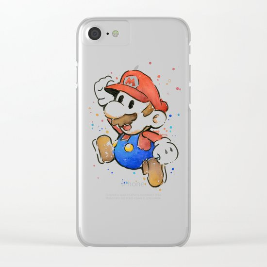 Mario Watercolor Clear iPhone Case