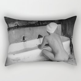 Bath in Paris, Cold Water Flat, Female Nude black and white art photography / photograph Rectangular Pillow