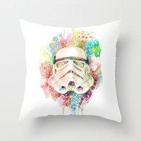 stormtrooper Throw Pillows featuring Stormtrooper by Veronika Weroni Vajdová