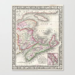 Vintage Nova Scotia and New Brunswick Map (1866) Canvas Print
