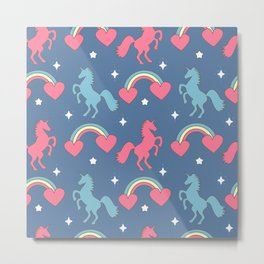cute colorful pattern with rainbows, hearts, unicorns and stars Metal Print