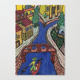 Old City on the river Canvas Print