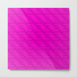 Modern stylish texture with iridescent triangles and pink squares in zigzag shapes. Metal Print
