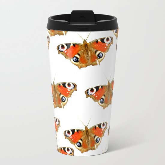Beautiful Peacock Butterflies Metal Travel Mug
