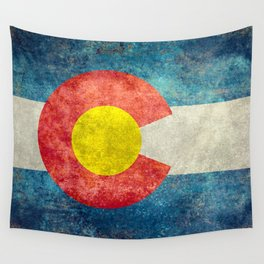 Colorado State Flag in Vintage Grunge Wall Tapestry