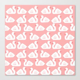 Swan minimal pattern print pink and white bird illustration swans nursery decor Canvas Print