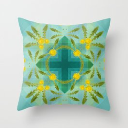 Dandelions in the sky Throw Pillow