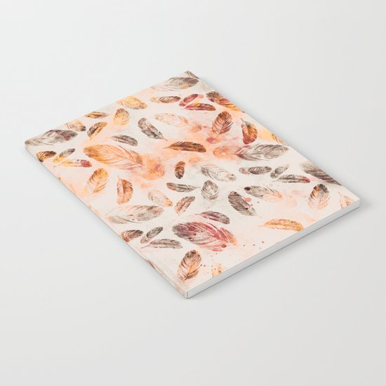 Autumn Feathers watercolor pattern Notebook