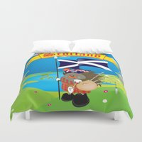 scotland Duvet Covers featuring Greetings from Scotland by mangulica illustrations