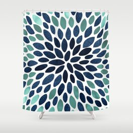 Flower Bloom, Aqua and Navy Shower Curtain