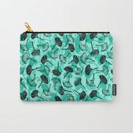 Ginkgo Biloba linocut pattern MINT GREEN Carry-All Pouch