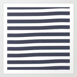 Brushy Stripes - Navy Art Print