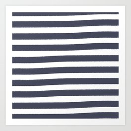 Brushy Stripes - Navy Art Print