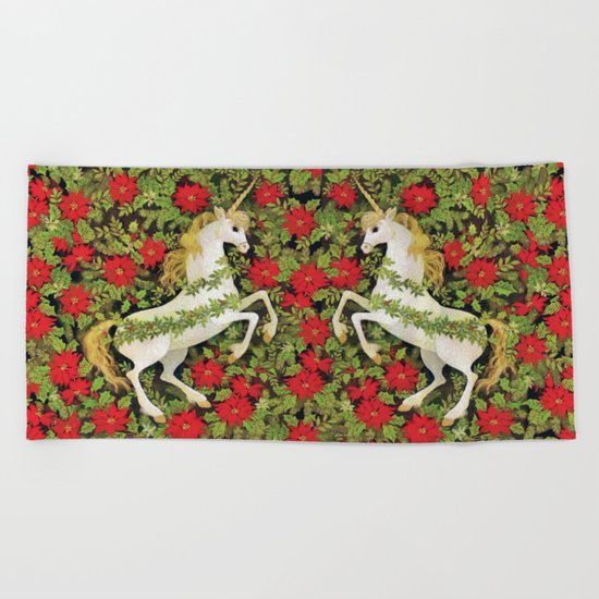 Christmas Unicorn Beach Towel