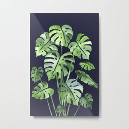 Delicate Monstera Blue #society6 Metal Print