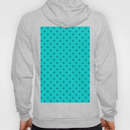 Black on Cyan Snowflakes Hoody