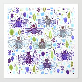 Inky Beetles Art Print
