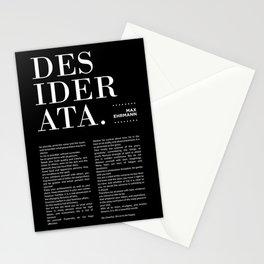 Desiderata by Max Ehrmann - Typography Print 15 Stationery Cards