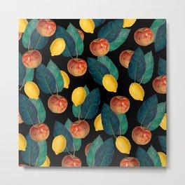 Apples And Lemons Black Metal Print