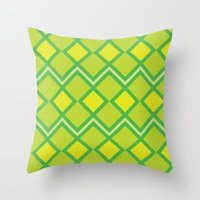 lime green Throw Pillows featuring Green Lime Square Pattern by FlowerPot