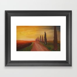 Tuscany Alley Way with Cypress at Dusk Framed Art Print