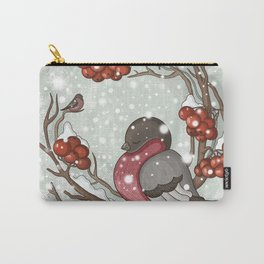 Bullfinch under snow Carry-All Pouch