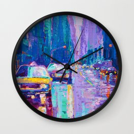 Streets of New York #2 - Palette Knife Contemporary Urban City Landscape by Adriana Dziuba Wall Clock