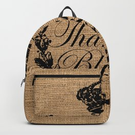 french country jubilee crown thanksgiving fall wreath beige burlap thankful and blessed Backpack