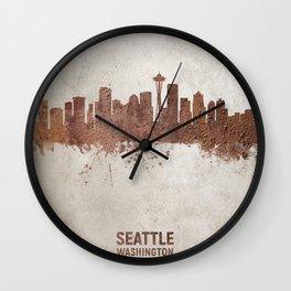 Seattle Washington Rust Skyline Wall Clock