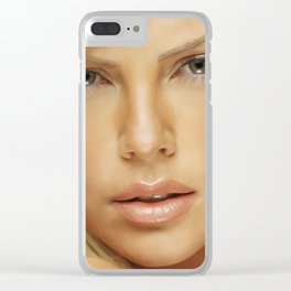 Charlize Theron - Celebrity (Oil Paint Art) Clear iPhone Case