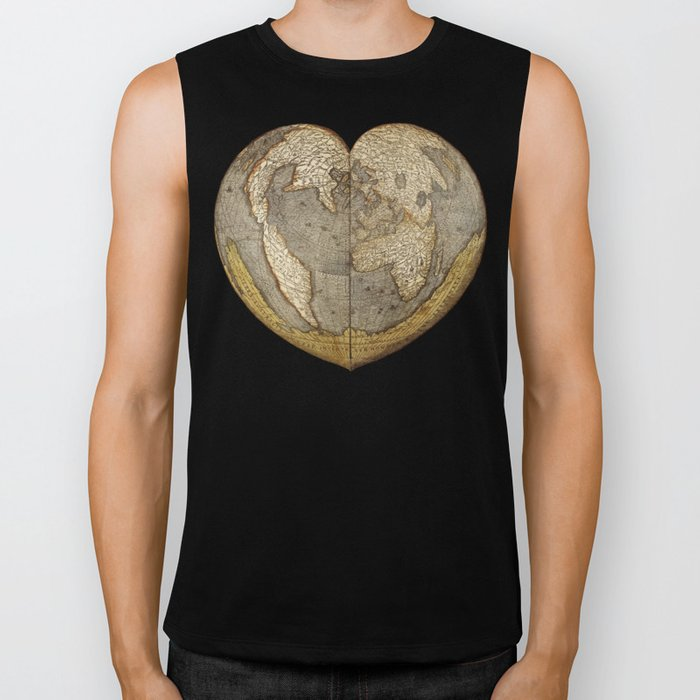 Heart-shaped projection map by Oronce Fine, 16th century Biker Tank