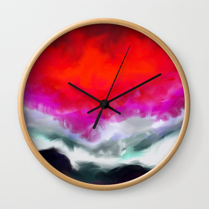 Abstract in Red, White and Purple Wall Clock