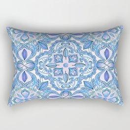Cornflower Blue, Lilac & White Floral Pattern Rectangular Pillow