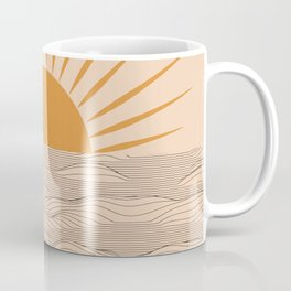 Modern abstract aesthetic background with sun and sea waves, sunset and sunrise illustration Coffee Mug